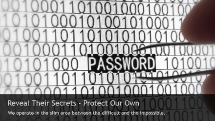 Reveal their secrets - Prptect our own. We operate in the slim area between the difficult and the impossible.